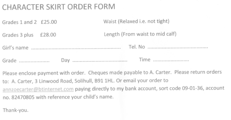 order form for the character skirt